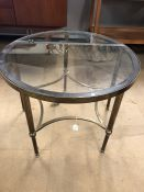 Brass Circular coffee table on fluted legs with glass top