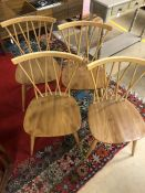 Set of four Ercol sick back chairs
