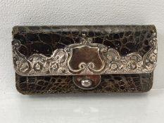 Vintage snake skin purse with hallmarked silver mounts and clasp Silver hallmarked for 1901