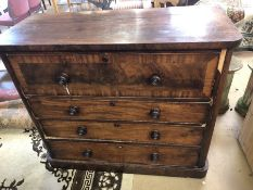 Scottish chest of four draws with turned handles, approx 108cm tall