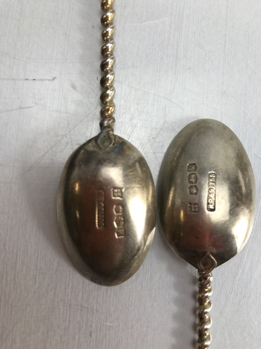 Six hallmarked silver spoons with twisted stem and square handle by maker Cooper Brothers & Sons Ltd - Image 2 of 7