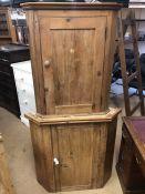 Antique pine corner cupboard with ceramic handles, two internal shelves and original key