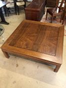 Imported Chinese rosewood large (approx 122cm square) coffee table on square carved legs