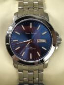 Gianni Sabatini large Blue faced watch with stainless strap and date aperture at 3 o'clock