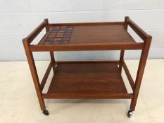Danish Mid Century teak bar cart / tea trolley with tile inset makers mark 'KT' and model number 137