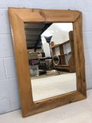 Large rustic pine framed mirror, approx 107cm x 81cm
