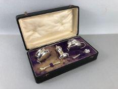 Silver hallmarked cruet set (one spoon EPNS)