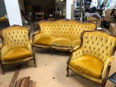 Victorian Style Salon Suite comprising two Chairs and a three seater settee