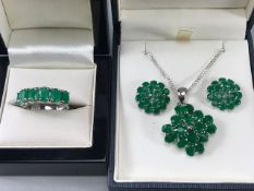 Silver Emerald Pendant Earrings and Ring set size 'Q'