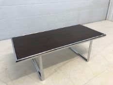 1960s rosewood veneer and chrome coffee table by Howard Miller for Mda, approx 100cm x 48cm x 35cm