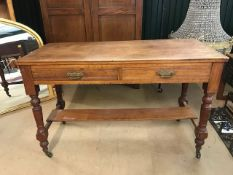 Large console table with turned legs, on castors, approx 121cm x 52cm x 76cm tall