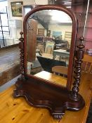 Victorian mahogany barley twist mirror with foxing, approx 75cm tall