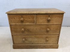 Antique pine chest of four drawers, approx 104cm x 54cm x 83cm tall
