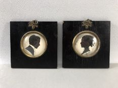 Pair of Framed Silhouette miniatures both signed P. Arnold approx 11 x 11cm