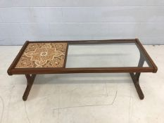 Mid Century G-Plan 'Long John' coffee table with teak frame, original tiles and replaced toughened
