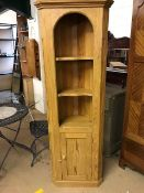 Pine corner unit with cupboard under and shelves over, approx 180cm tall
