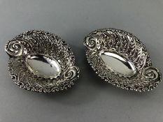 Pair of Hallmarked Birmingham Silver pierced bob bon dishes (approx 83g & 13cm long)