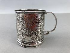 Georgian Silver small engraved mug Birmingham 1824 approx 6cm tall