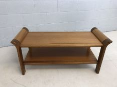 Mid Century oblong coffee table with shelf under, approx 113cm x 49cm x 44cm tall