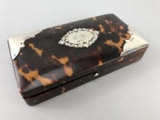 Tortoise shell box with green velvet lining and Hallmarked silver cartouche and hallmarked silver