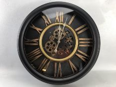 Large modern wall clock with gear design, approx 50cm in diameter