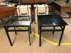 Pair of modern occasional tables, one with clear glass top, one with black, approx 50cm x 50cm x