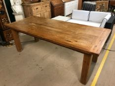 Large modern oak dining table with breadboard ends, approx 210cm x 90cm x 77cm tall