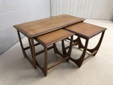 G-Plan Astro large nest of three tables, largest approx 100cm x 50cm x 52cm tall