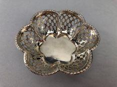 Birmingham hallmarked silver Pierced Bowl on three scroll feet by Mappin & Webb (Diam 9.5cm &
