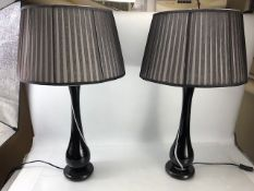 Pair of Italian hand-blown glass table lamps with original shades, height approx 74cm (including