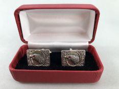 Pair of silver birds of prey cufflinks