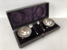 Boxed silver salts, hallmarked Birmingham 1896