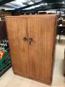 Small Mid Century gentleman's wardrobe / cupboard by Tudor Rose, approx 84cm x 47cm x 123cm tall