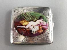 Silver case with enamel nude figure