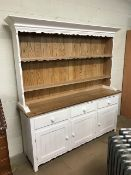 Large white painted pine kitchen dresser with three cupboards and drawers under, approx 186cm tall x