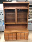 Mid Century McIntosh tall sideboard /lounge unit with two drawers and cupboards under and glass