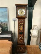 'The Chartwell' modern grandfather clock by Comitti of London, with inlaid Walnut case of floral and