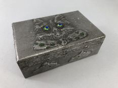 """Pewter box decorated with a cat and mice to the sides stamped """"AK"""" to the reverse"""