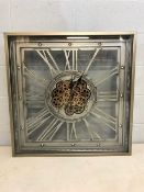 Large modern square wall clock with gear design, approx 80cm x 80cm x 10cm deep