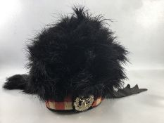 Victorian ostrich feather Piper's Bonnet of the Gordon Highlanders