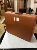 Vintage suitcase by 'Victor Luggage' with Shell Corporation labels
