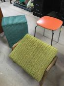 Collection of three vintage / retro items to include a Keron 1960s orange kitchen stool, a Lloyd