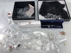 Collection of good silver and contemporary style modern jewellery and a boxed black beaded shawl
