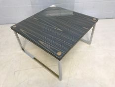 Chrome based large coffee table with exotic hardwood veneer, original glass top and newly made glass