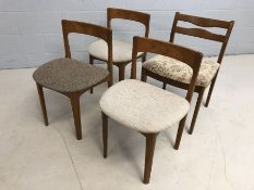 Four Mid Century low-backed chairs (two matching) with padded seats