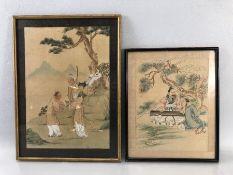 Two Framed oriental silks