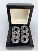 Pair of silver and marcasite drop earrings