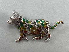 Silver and plique a jour cat brooch