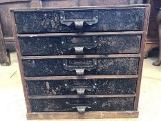 Flight of five industrial metal drawers in wooden cabinet, approx 37cm x 26cm x 35cm tall