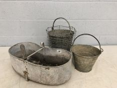 Collection of galvanised outdoor items to include two buckets and a waist-worn chicken feeder